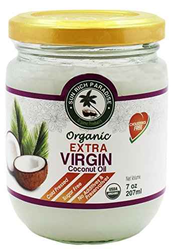 Sun Rich Paradise Organic Extra Virgin Coconut Oil (7 oz.)Glass jar | Cold Pressed
