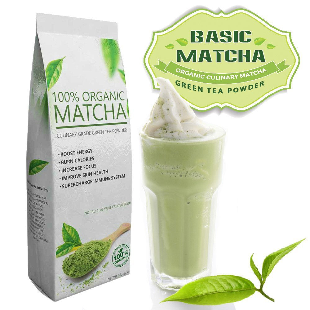 Basic Matcha (16oz) – USDA Pure Organic – All Natural – Culinary Grade ––Perfect for Lattes and Frappes