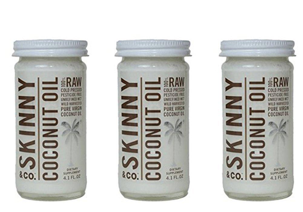 3 Pack of 4.1 Oz Travel Size Skinny & Co. Extra Virgin Skinny Coconut Oil