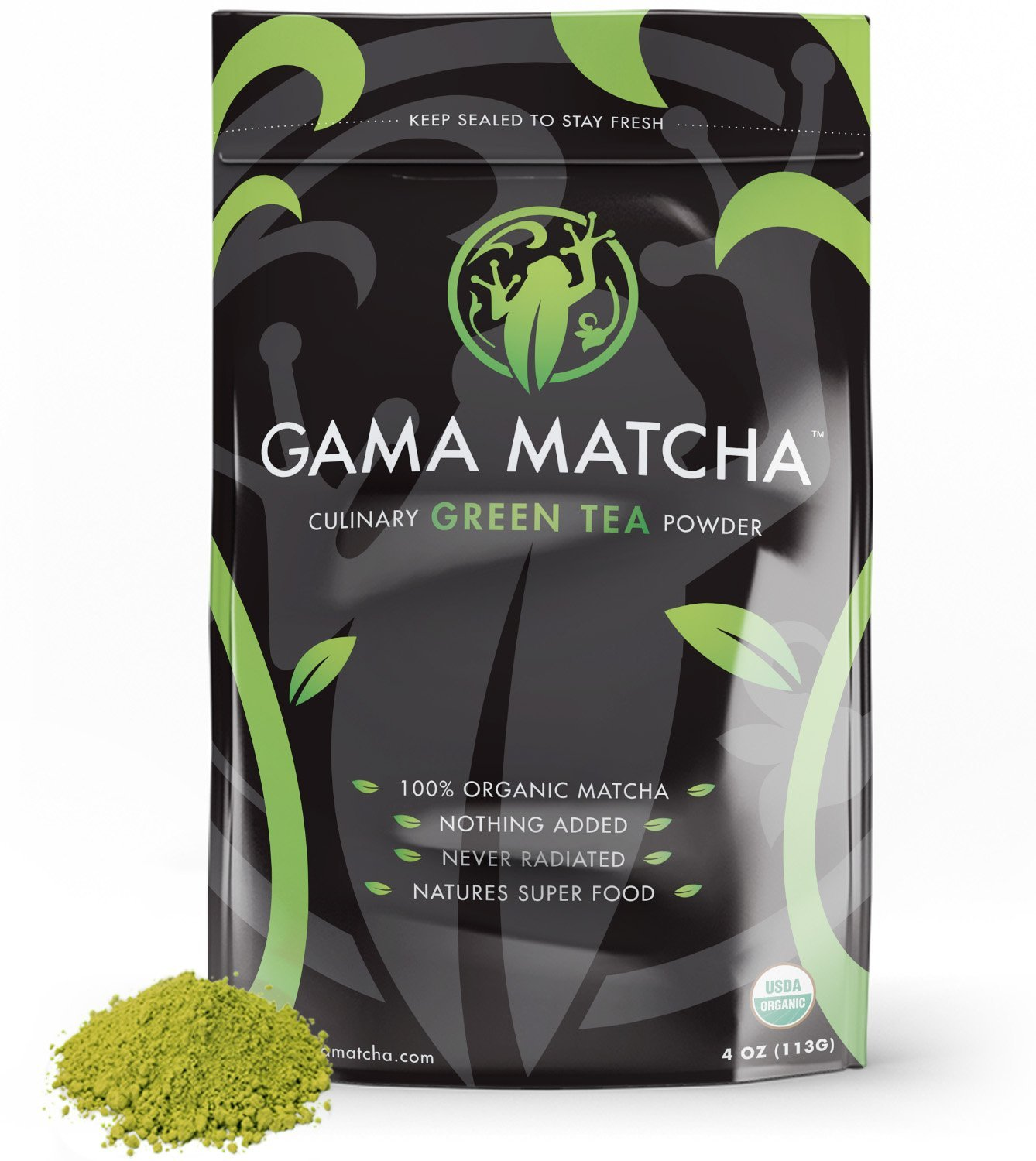 100% ORGANIC Matcha Green Tea Powder USDA Stone Ground (4 oz / 22 Servings) SUPER FOOD for Smoothies