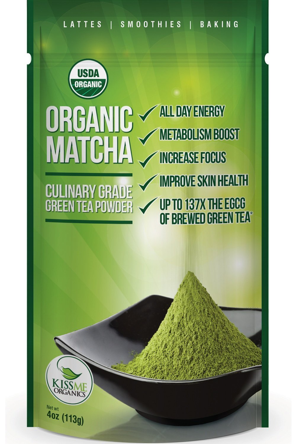 Matcha Green Tea Powder - Powerful Antioxidant Japanese Organic Culinary Grade - 113 grams (4 oz) - For use in Lattes