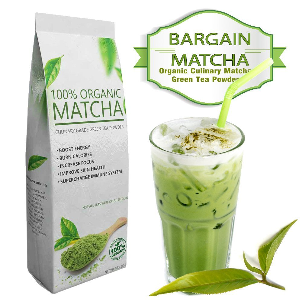 Bargain Matcha (16oz) – Certified 100% USDA Organic – Rich in Antioxidants – Energy Booster – Excellent Taste with Great Savings