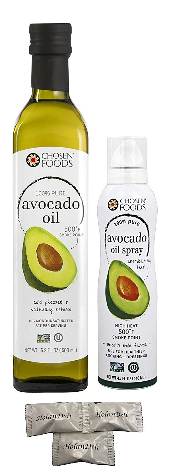 Variety Pack 100% Pure Avocado Oil and Avocado Oil Spray by Chosen Foods. Includes Exclusive HolanDeli Chocolate Mints.