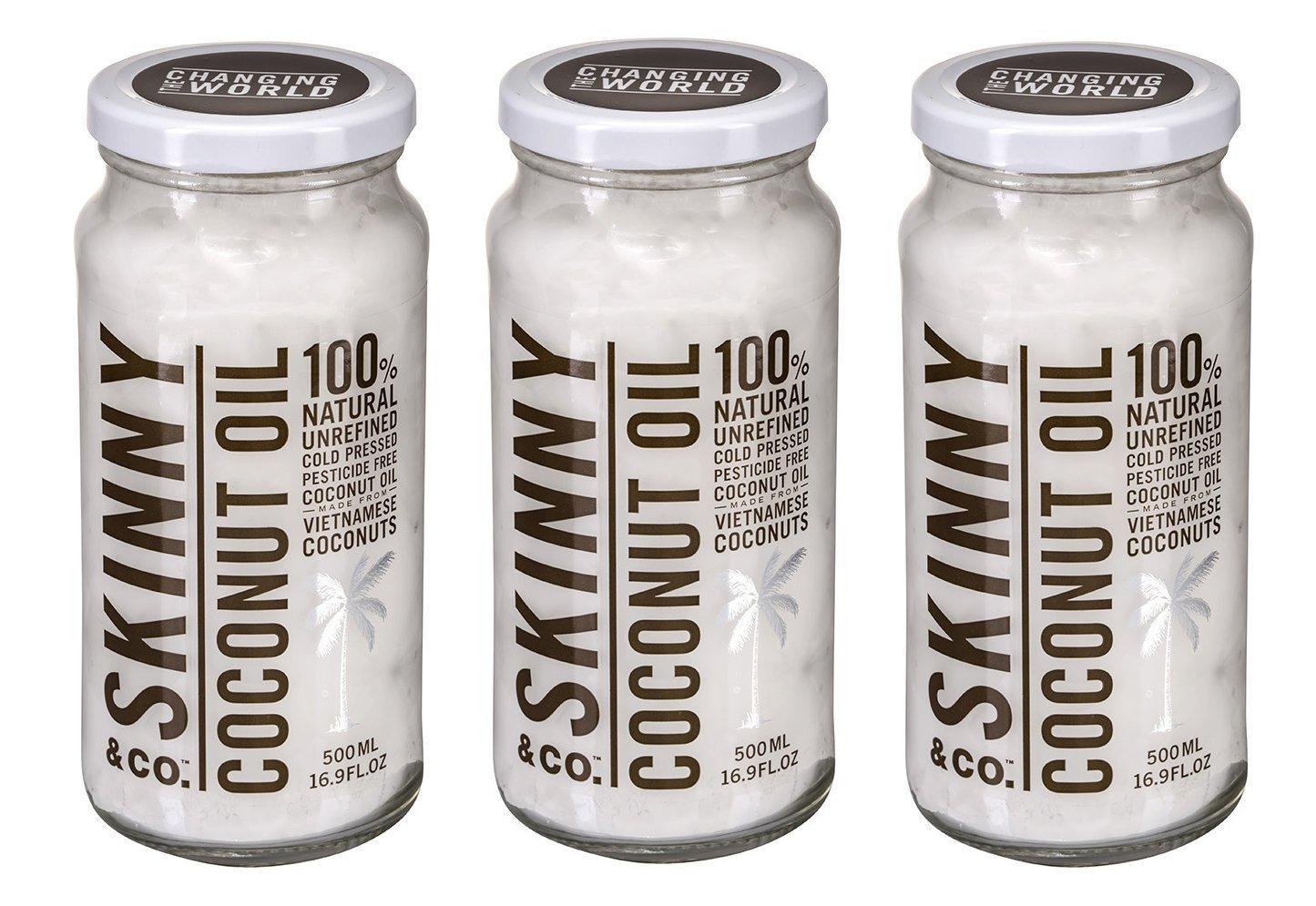 3 Pack - Skinny & Co. Coconut Oil Raw Alkaline 16.9 Fl Oz Jar