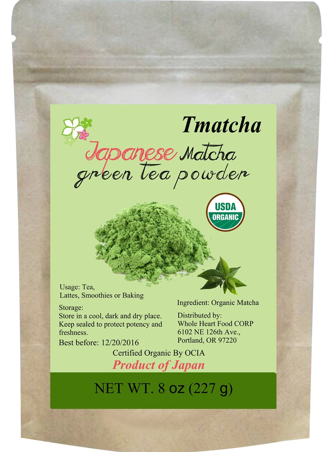 Tmatcha Organic Japanese Matcha Green Tea Powder USDA Organic Certification Culilary Grade Gluten Free and Vegan 8 oz(227 g)