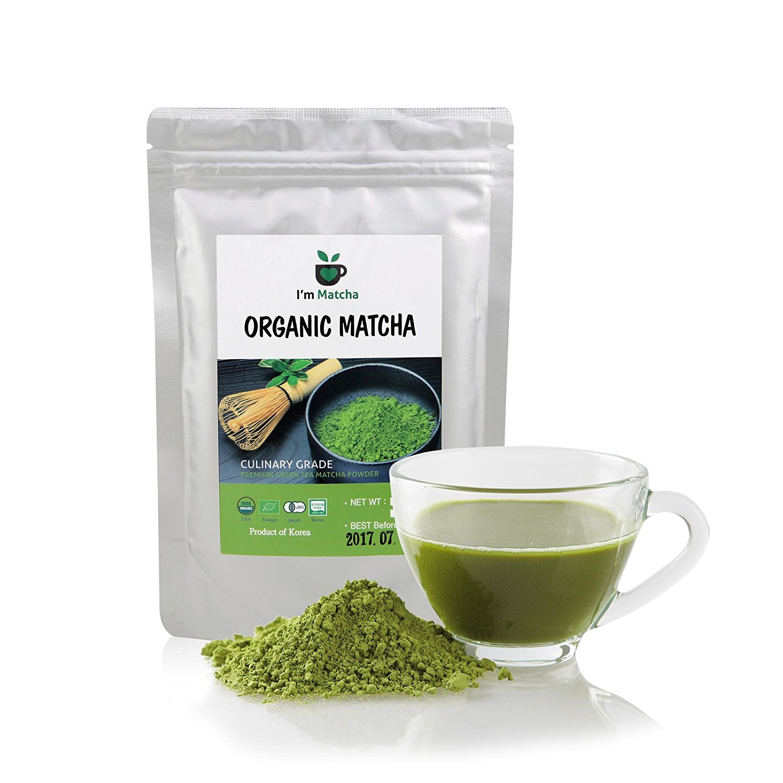 USDA Certified Organic Green Tea Powder from Korean Brand I'm Matcha - Fat Burner & Diet Supplement & Antioxidants - Natural Detox - Latte