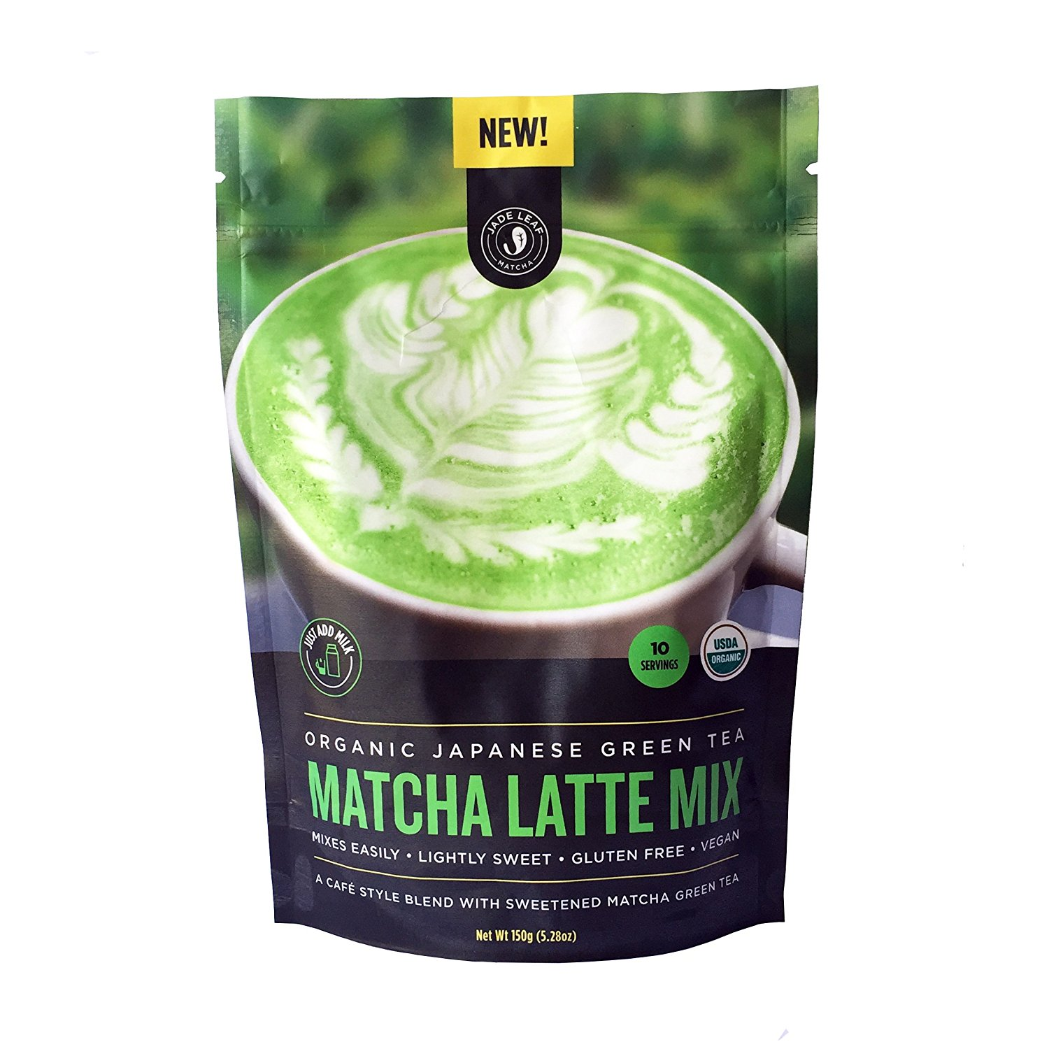 Jade Leaf - Organic Japanese Matcha Latte Mix - Make Delicious Matcha Green Tea Powder Lattes at Home [150g pouch]