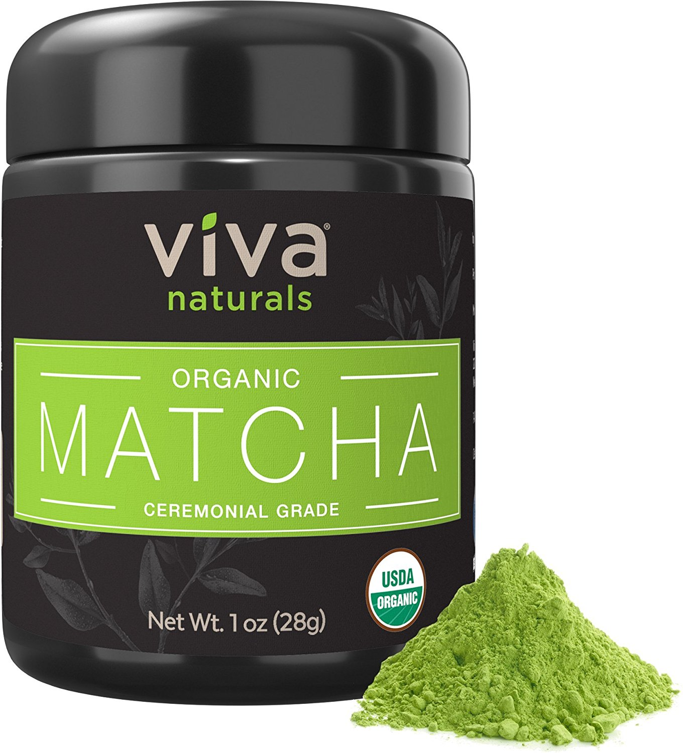 Viva Naturals Organic Matcha Green Tea Powder [1 oz] - Japanese Ceremonial Grade for Lattes