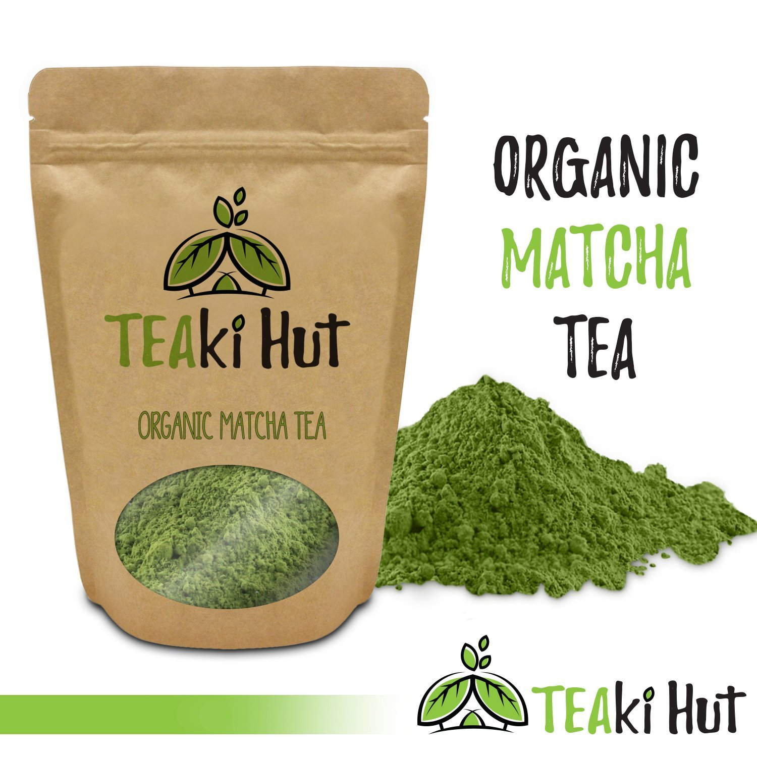 TEAki Hut Organic Matcha Green Tea Powder 2 Ounce (50 Servings) Culinary Grade | Excellent Weight Loss Benefits | More Antioxidants than Green Tea Bags | Best for Making Matcha Tea
