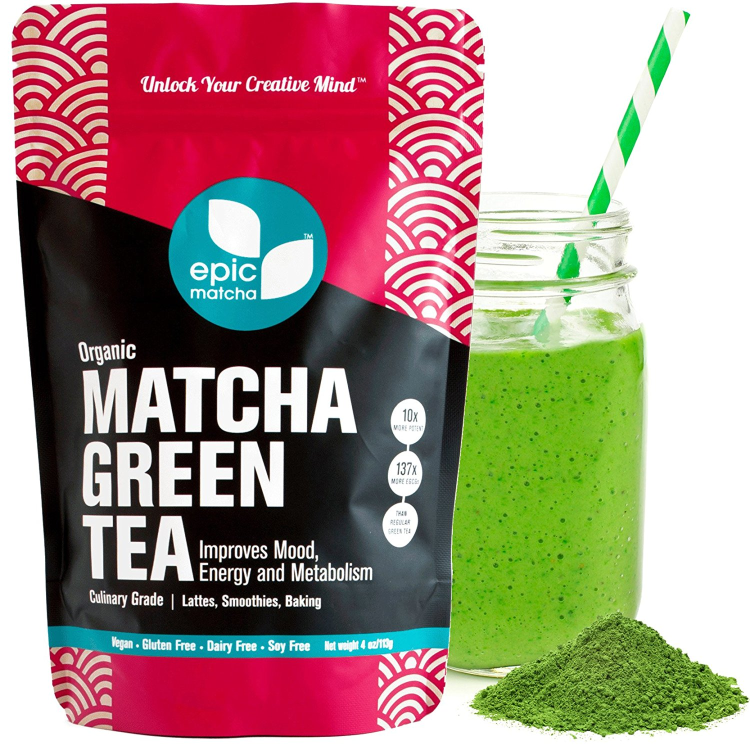 Epic Matcha Green Tea Powder - USDA Organic - Best Culinary Grade - Free 37+ Smoothie & Baking Recipes and...