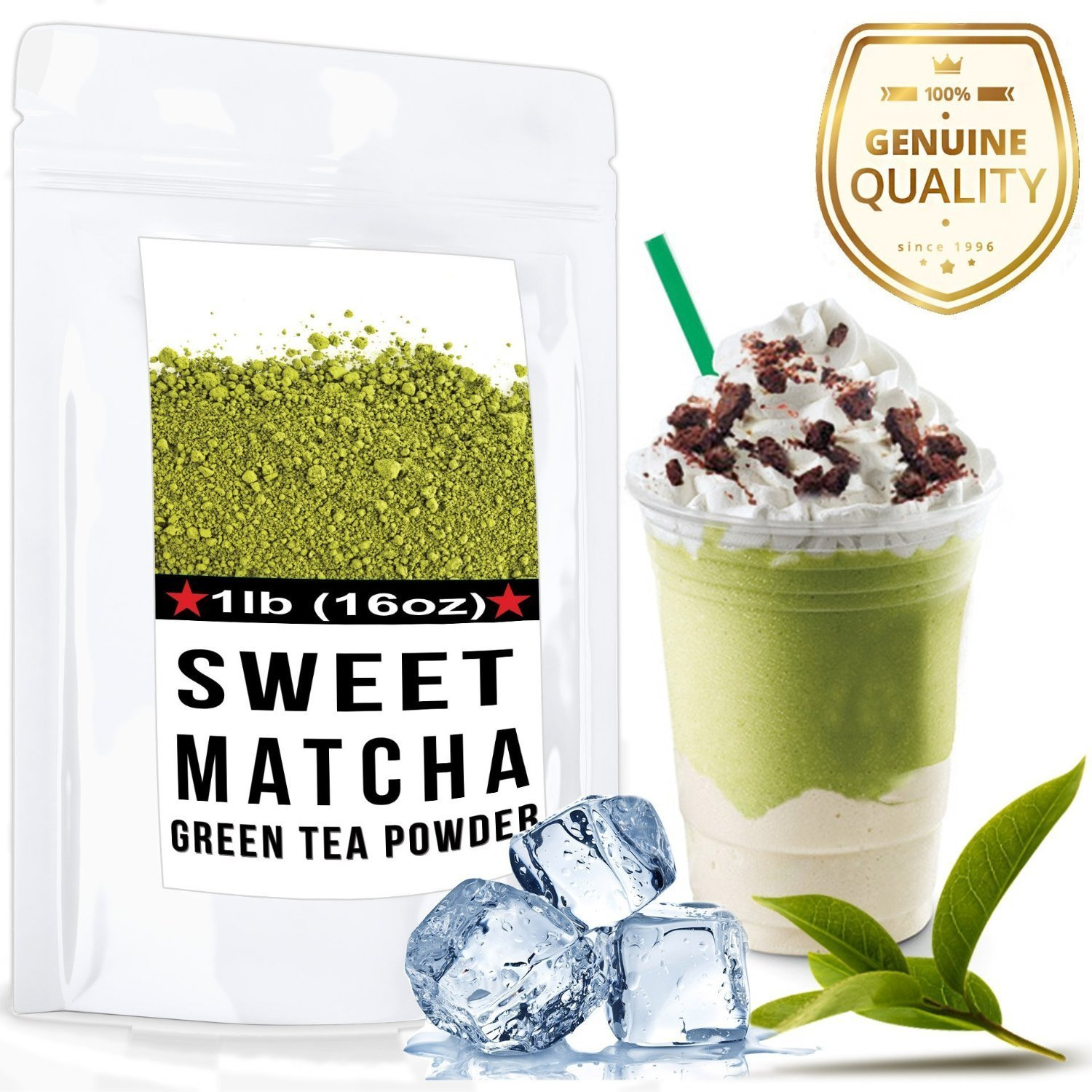 Sweet Matcha (16oz) High Quality Green Tea Powder Mix- Made with 100% Organic Matcha - Perfect for Making Green Tea Latte or Frappe - 30 Servings