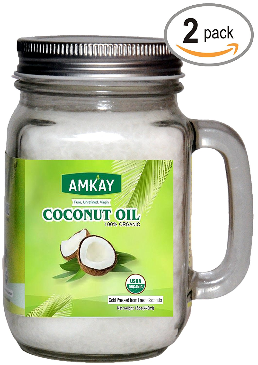 Amkay Organic Coconut Oil Extra Virgin Cold Pressed Unrefined for Hair