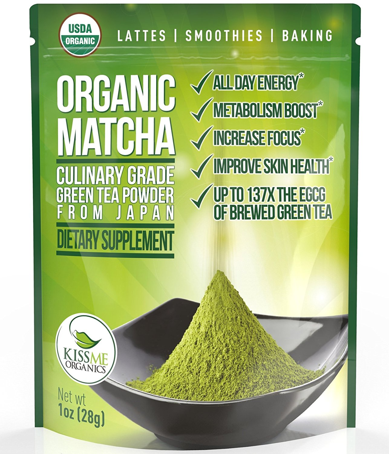 Matcha Green Tea Powder - Powerful Antioxidant Japanese Organic Culinary Grade (1 oz) - For use in Lattes