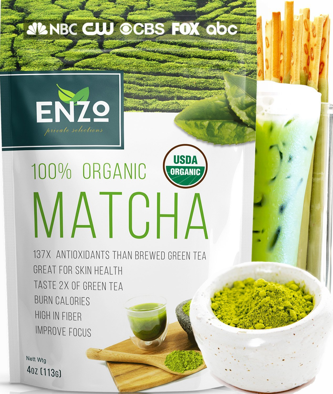 Matcha Green Tea Powder 4oz - Organic Vegan Milky Taste USDA Certified - 137x Antioxidants Over Brewed Green Tea- Great for Matcha Latte