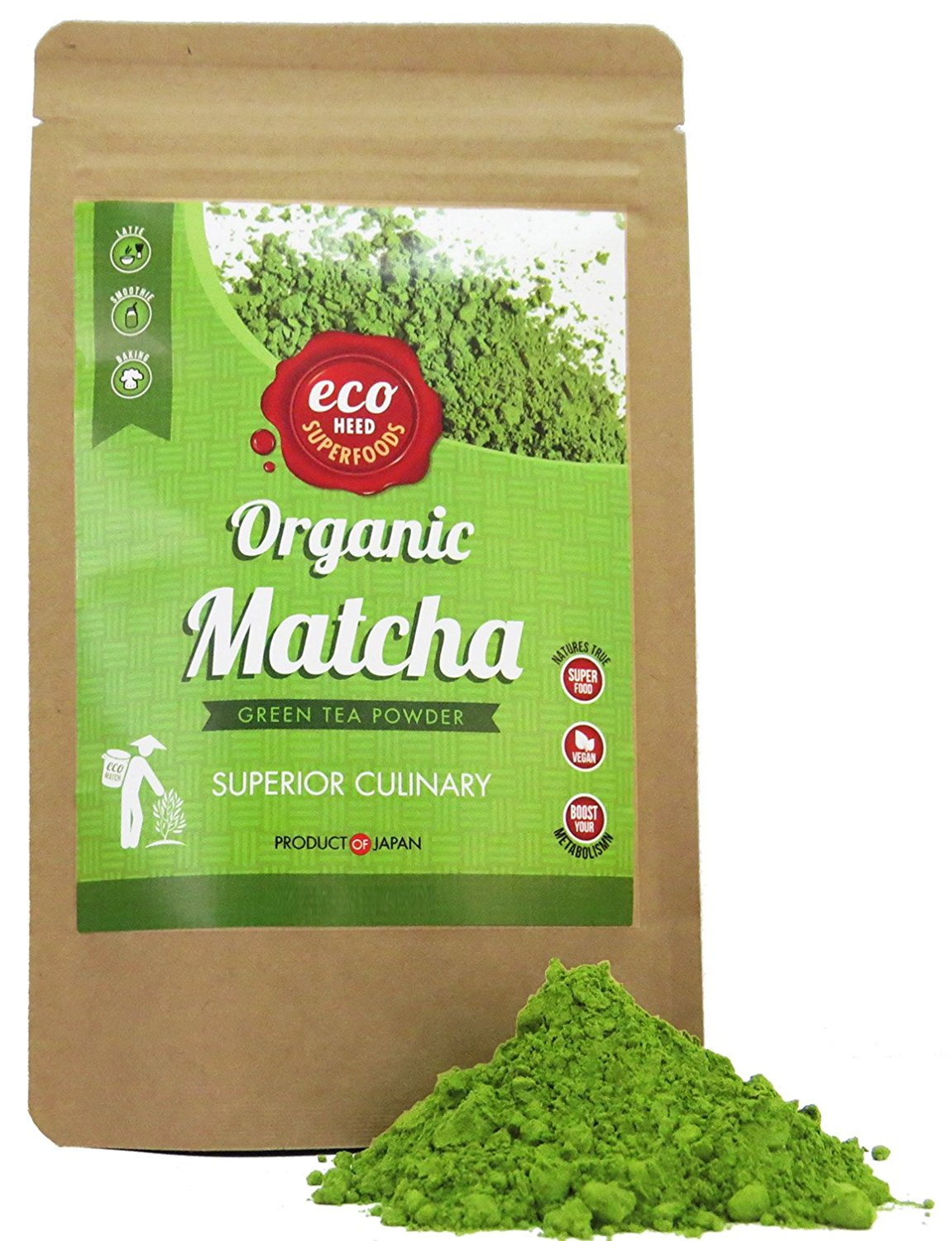 Matcha Green Tea Powder - Superior Culinary - USDA Organic From Japan -Natural Energy & Focus Booster Packed With Antioxidants. Matcha Tea For Mixing In Lattes