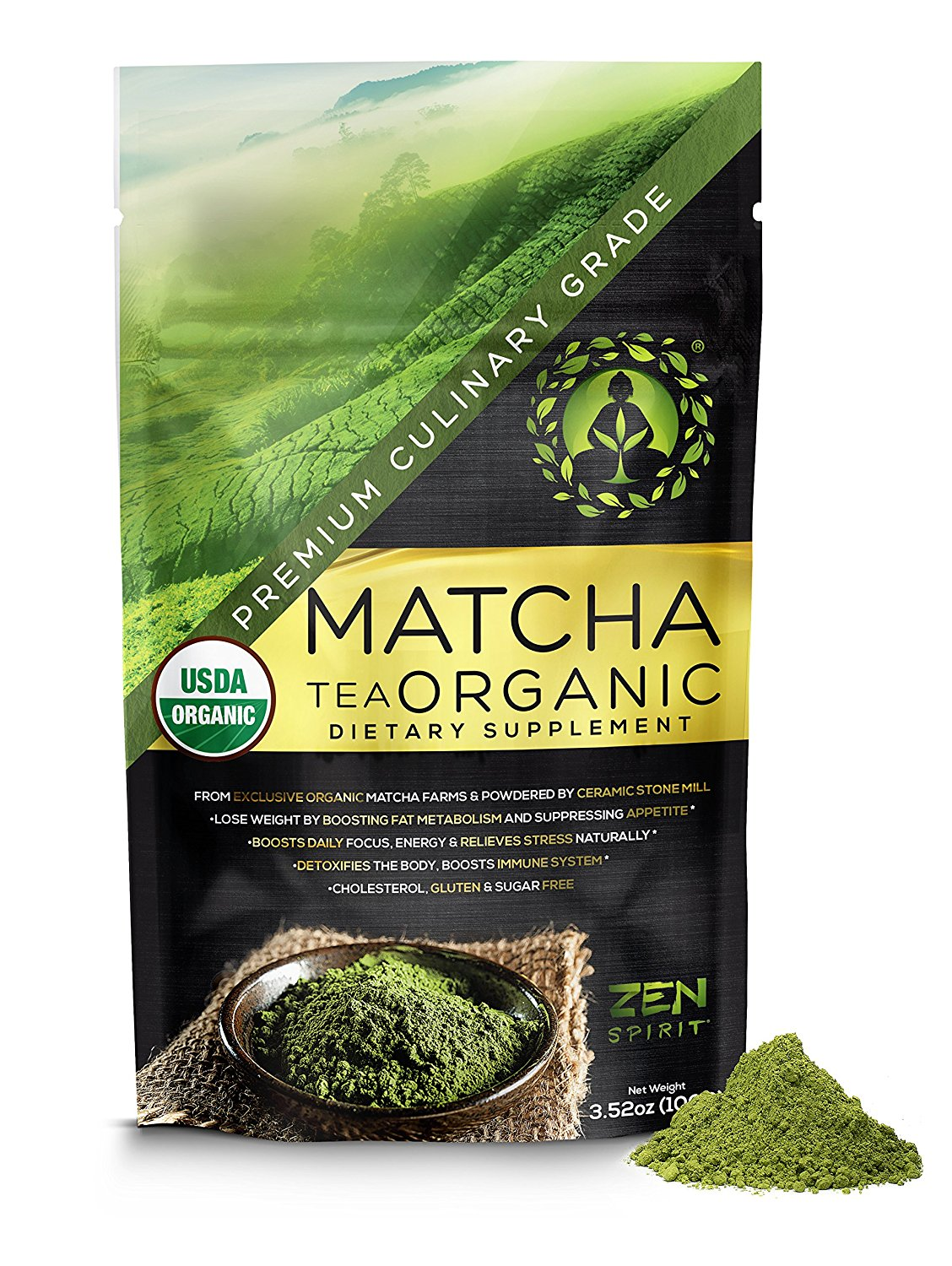Matcha Green Tea Powder Organic ( Japanese Premium Culinary Grade ) - USDA & Vegan Certified - 100g (3.52 oz) - Perfect for Baking