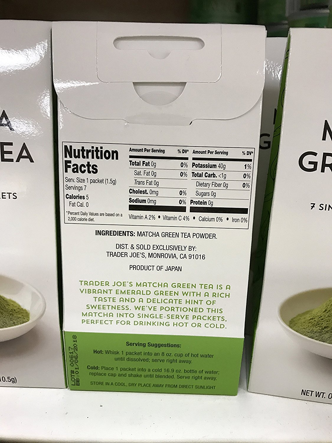 Trader Joe's Matcha Green Tea Powder 3 Pack (each with 7 Single Serve Packets)