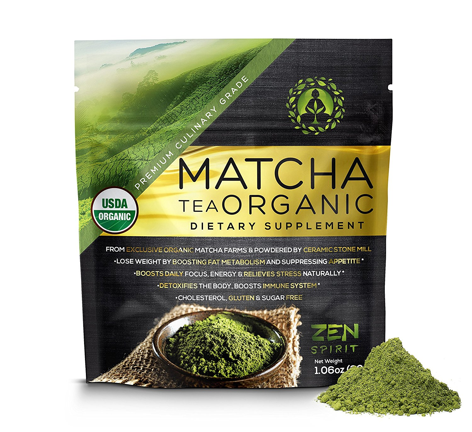 Matcha Green Tea Powder Organic ( Japanese Premium Culinary Grade ) - USDA & Vegan Certified - 30g (1.06 oz) - Perfect for Baking